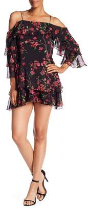 Alice + Olivia Lexis Silk Printed Tiered Ruffle Cold Shoulder Mini Dress