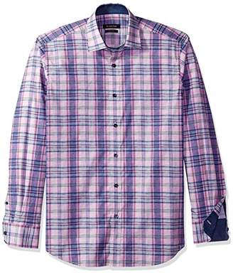 Bugatchi Men's Tailored Fit Tartan Long Sleeve Woven