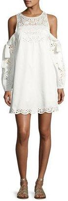 Parker Newton Lace-Trim Cotton Dress, White $398 thestylecure.com