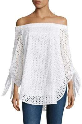 Tibi Antonina Eyelet Off-The-Shoulder Tunic