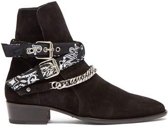 Amiri Bandana & chain ankle-strap suede ankle boots