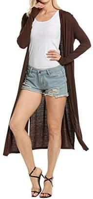 Meaneor Women's Pocket Long Sleeve Basic Soft Knit Cardigan Sweater S