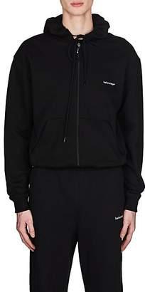 Balenciaga Men's Logo Cotton Zip-Front Hoodie - Black