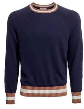 Brunello Cucinelli Varsity Crewneck Cotton Sweater