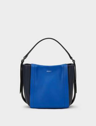 Donna Karan Donnakaran Mini Greenwich Smooth Calf Leather Colorblock Crossbody Midnight Blue N/S