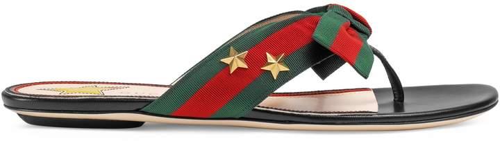 Studded grosgrain Web thong sandal
