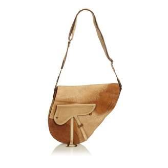 Christian Dior Vintage Saddle Brown Pony-style calfskin Handbag