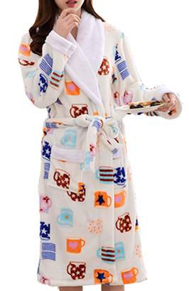 705c08233b Femaroly Womens Bathrobe Dressing Gown Christmas Birthday Gift Long Ladies  Sleepwear Spa Robe XS
