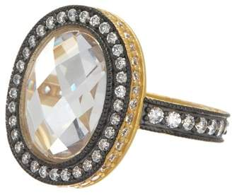 Freida Rothman 14K Gold & Rhodium Plated Sterling Silver Radiance CZ Pave Edge Cocktail Ring