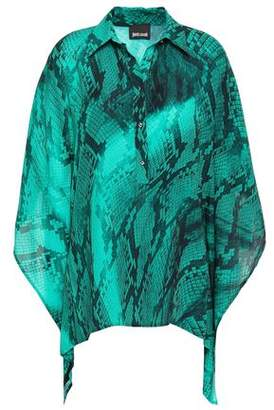 Just Cavalli Draped Snake-print Crepe Blouse