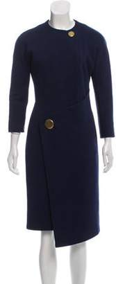 Balenciaga Virgin Wool Knee-Length Dress Navy Virgin Wool Knee-Length Dress