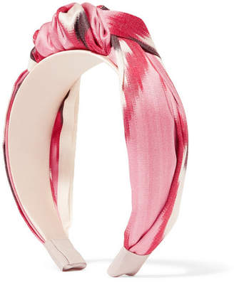 Jennifer Behr Ophelia Knotted Printed Cotton And Silk-blend Twill Headband - Pink