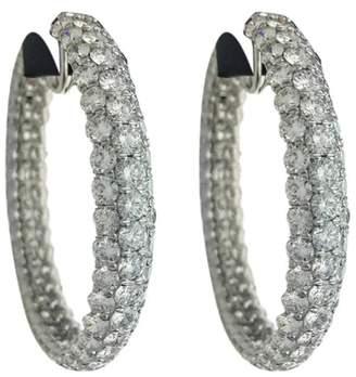Palladium Platinum and 37.00ct Diamond Hoop Earrings