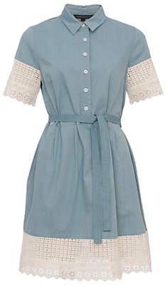 French Connection Holiday Lace Shirt Dress, Indigo/Summer White