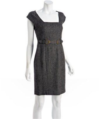 Laundry by Shelli Segal cardamom tweed cap sleeve belted dress