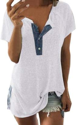 Change_shirts Women Loose Casual Tops, Changeshopping Simple Short Sleeve Button T Shirt (XL, )