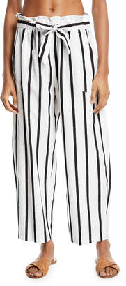 Milly Kori Striped Embroidered Coverup Pants