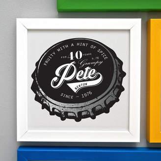 Pepper Print Shop Personalised 40th Birthday Beer Bottle Top Framed Print