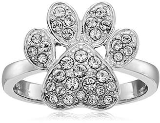 Swarovski Sterling Silver Paw Print Ring Made with Crystal (Size 7)