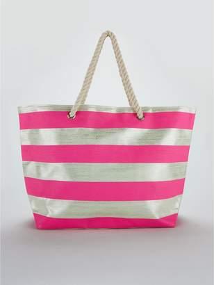 Very Metallic Stripe Beach Bag - Silver/Pink