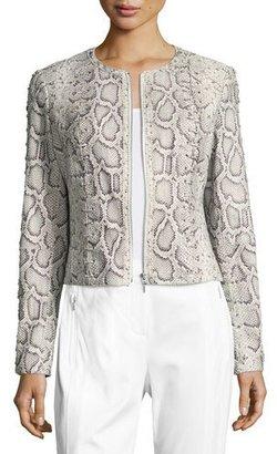 Elie Tahari Janet Lace-Up Python-Print Leather Jacket $1,198 thestylecure.com