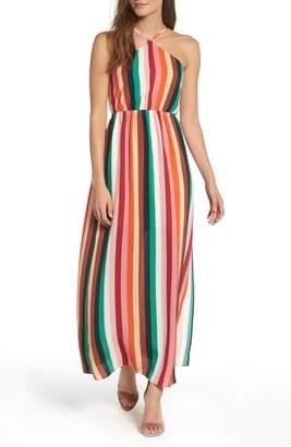 Soprano Stripe Halter Maxi Dress