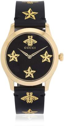 Gucci 38mm G-Timeless Bee & Star Leather Watch