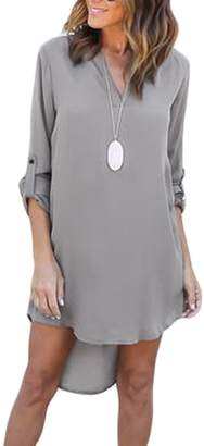 Mupoduvos Women Summer Plain Long Sleeve V Neck High Low Asymmetric Tunic Dress Darkblue XXL