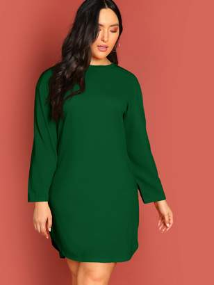 Shein Plus Curved Hem Solid Tunic Dress