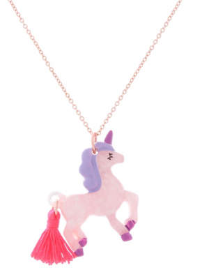 George Pink Unicorn Tassel Necklace