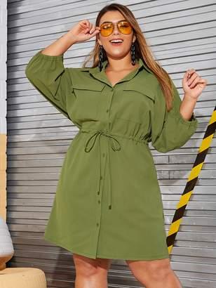Shein Plus Drawstring Waist Pocket Side Cargo Dress