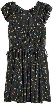 The Kooples Printed Silk Dress with Lace