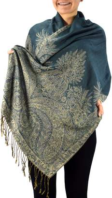Couture Peach Soft Vintage Persian Paisley Printed Solid Pashmina Shawl Scarf