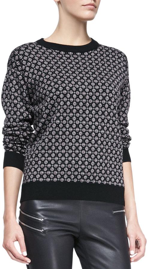 Joseph Cravat Jacquard Knit Sweater