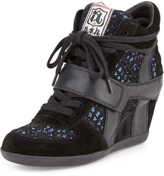 Ash Bowie Sequined Hidden-Wedge Sneaker, Black/Blue $175 thestylecure.com
