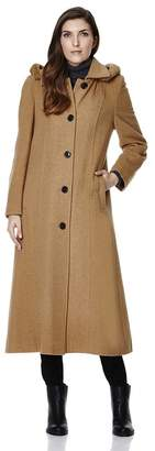 De La Crème Single Breasted Detachable Fur Hood Wool Winter Trench Winter Coat