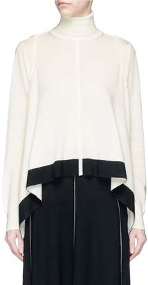 Tome Cropped back handkerchief turtleneck sweater