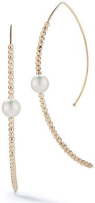 Mizuki 14k Marquise Bead & Pearl Hoop Earrings