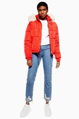 Topshop Red Faux Fur Lined Quilted Puffer Jacket