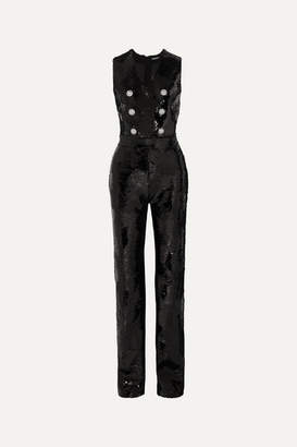 Balmain Button-embellished Sequined Crepe Jumpsuit - Black
