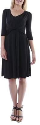 24/7 Comfort Apparel Women's Twist Front Elbow-Length Sleeve Knee-Length Dress