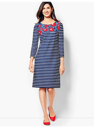 Talbots Stripes & Flowers Shift Dress