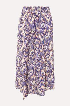 Etoile Isabel Marant Yeba Asymmetric Printed Silk Crepe De Chine Midi Skirt - Blue