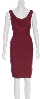 Herve Leger Sleeveless Knee-Length Dress