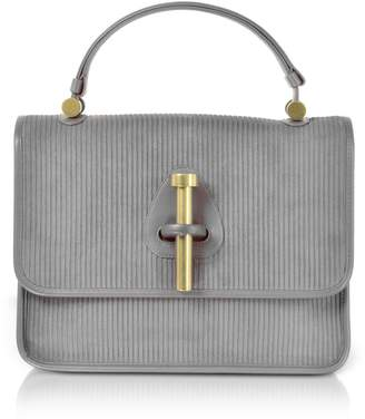 Rodo Striped Suede and Leather Satchel Bag