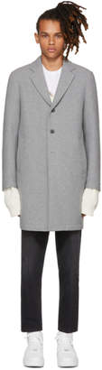 MSGM Grey Neoprene Wool Coat