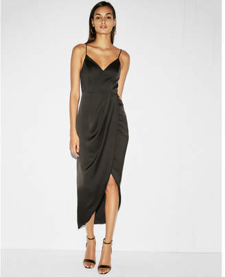 Express satin wrap fit and flare maxi dress