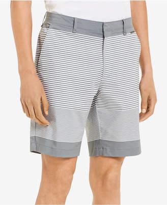 "Calvin Klein Men's Slim-Fit Flat-Front Striped 9"" Shorts"