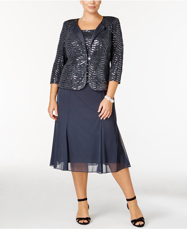 Alex EveningsAlex Evenings Plus Size Sequined Chiffon Dress and Jacket