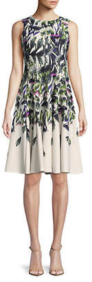 Gabby Skye Printed Scuba Sleeveless Fit-and-Flare Dress